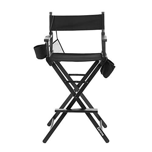 Regiestuhl, faltbar Make-up Künstler Stuhl Stuhl Holz, Salon machen mit Seite Taschen Schwarz