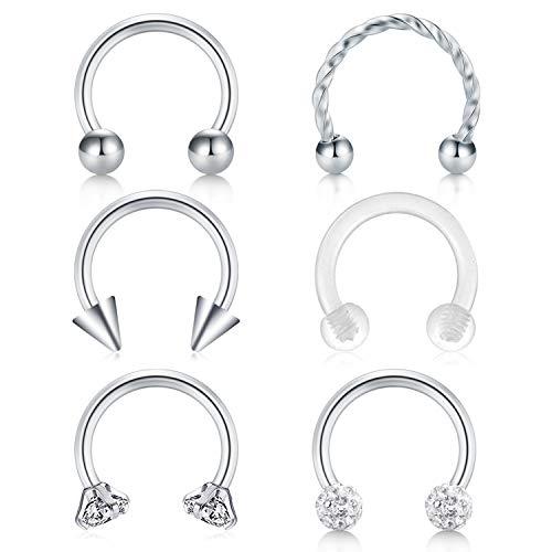 MODRSA 16G Horseshoe Piercing Nose Lip Eyebrow Ring Septum Piercing Helix Tragus Ear Cartilage Piercing 6 Styles Set