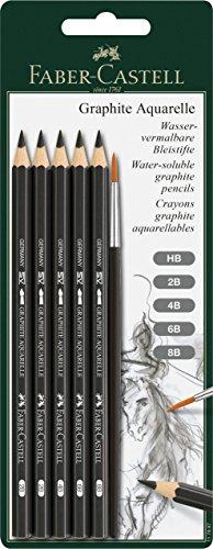 Faber-Castell 117897 – Blíster con 5 ecolápices, de grafito acuarelables, para artistas Graphite Aquarelle