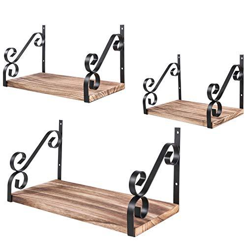 Rustikale Bad-handtuch-set (Nugoo Schwebende Regale Wandmontage, rustikales Holz Display und Lagerregale, dekorative Wandregale für Schlafzimmer, Badezimmer, Wohnzimmer und Küche, 3er Set)