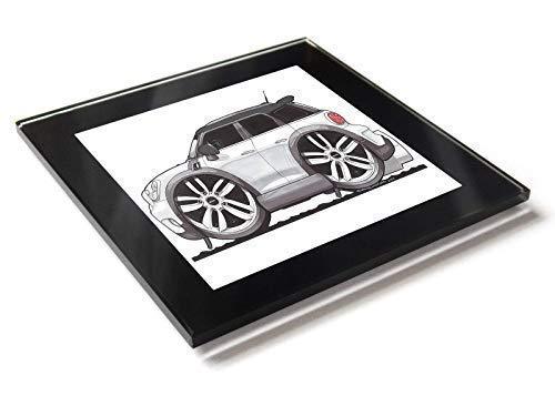 Koolart Cartoon Auto Mini Countryman Side View Glastisch Untersetzer mit Geschenkverpackung - Weiß, 10cm x 10cm -