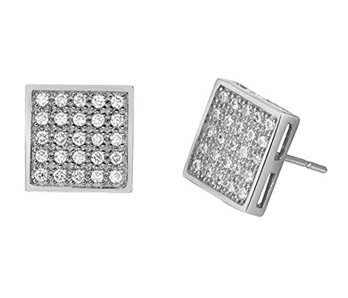 White Gold Honey Singh Style Inspired Square Micro Paved Cubic Zircons Earrings Studs  available at amazon for Rs.595