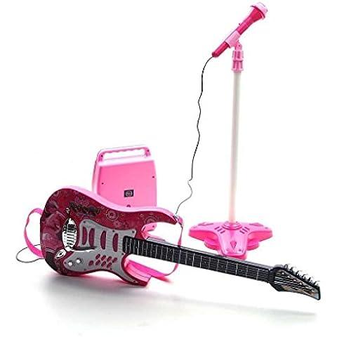 Chitarra rosa - microfono - treppiedi - amplificatore
