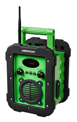 MEDION LIFE E66262 MD 84517 Spritzwassergeschütztes Freizeitradio / Baustellenradio, IP441, UKW/MW Radio, 50 Watt Lautsprecher, AUX Eingang, grün