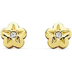 Pendientes de niña o bebé oro amarillo 18k Lupe flor