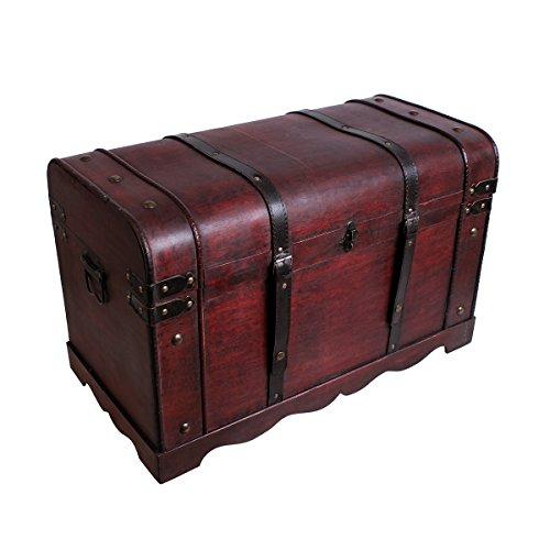 Schatztruhe Holztruhe Schatzkiste Kiste Piratenkiste mit Metallbeschlägen Antikoptik Holz Box Truhe Bar Schmuckkasten Weintruhe Aufbewahrungsbox Holz Optik Schmuckkiste Schmuckbox Grösse XL SK001 -