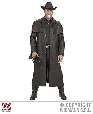 KOSTÜM - REVOLVERMANN - Größe XL, schwarz, Indianer Wilder Westen Cowboy Sheriff Pistolenheld Duster Mantel