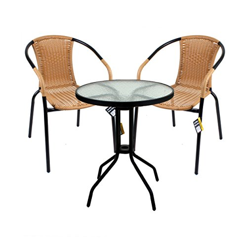 41zdG0NSP4L - BEST BUY# Aluminium Chrome Bistro Chair Outdoor Garden Patio Seating Stacking Black Wicker (Black) Reviews