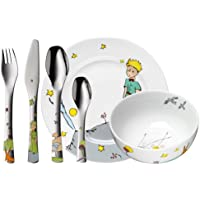 WMF El Principito - Vajilla Infantil (Plato, Cuenco), Acero Inoxidable y Cubertería (Tenedor, Cuchillo de Mesa, Cuchara y Cuchara Pequeña), Porcelana, 6 Piezas