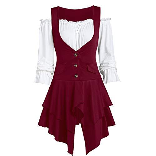 - Knopf-front Hipster (LILIHOT Frauen plus Größen Mantel Blusen Knopf zweiteilige Satz Taschen überlagerte Behälter lange Hülse UnregelmäßIge Normallack Herbst Art Weiseelegante Rock Kleid)