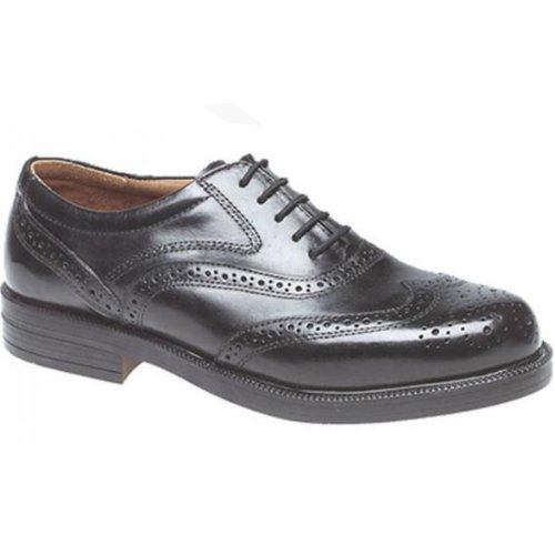 Mens Quality Leather Wing Cap Brogue Oxford Black Shoes (UK 12)