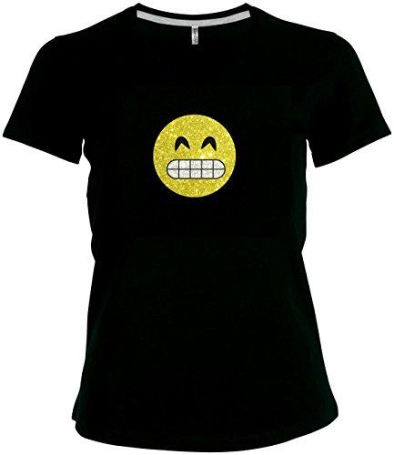 per funkelnder Glitzeraufdruck Smiley Emoticon T-Shirt Karneval Fasching Kostüm breites Grinsen mit Zähnen, XXL (Grinsen Emoji Kostüm)