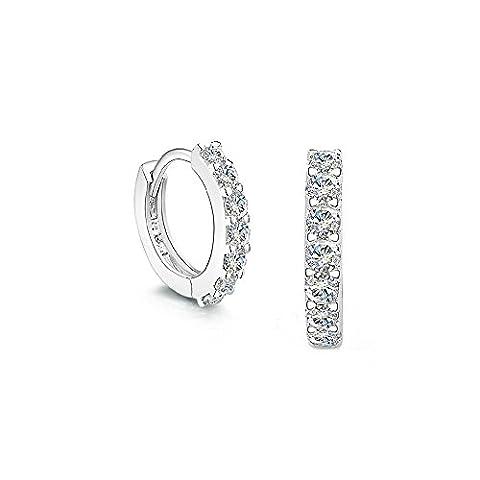 FANSING Jewellery 925 Sterling Silver Small Glittering Zirconia Hoop Huggie Earrings Ring Dia 13mm/0.5