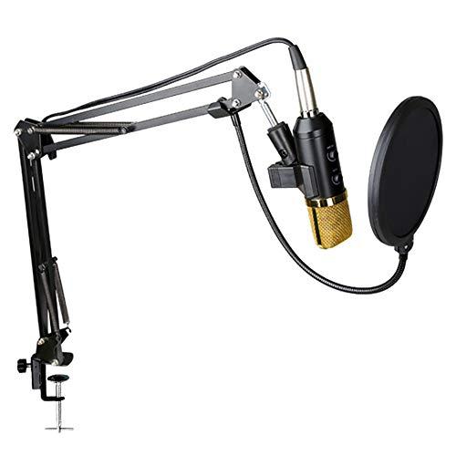shoppingba Professionelles Studio-Kondensatormikrofon, verstellbare Aufnahmemikrofon, Federung Scherenarm Ständer mit Stoßbefestigung und Befestigungsklemme für PC, Laptop, Smartphone, Gaming, Singing