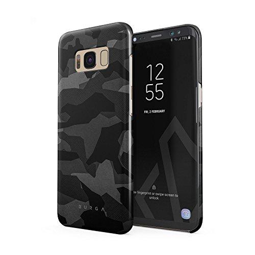BURGA Samsung Galaxy S8 Hülle, Nacht Grau Städtisch Schwarz Camo Camouflage Tarnung Muster Dünn, Robuste Rückschale aus Kunststoff Für Samsung Galaxy S8 Handyhülle Schutz Case Cover