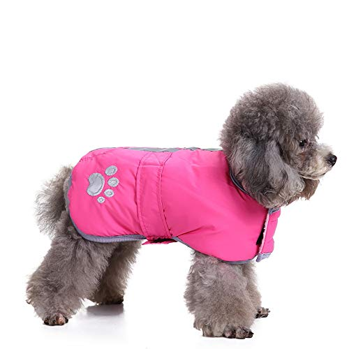 Amphia - Haustier Hund Klettjacke Mantel Kleidung,Kaltes Wetter Hundemäntel Loft Reversible Winter Fleece Hundeweste Haustier Jacke(Rosa,XL) Reversible Winter Mantel
