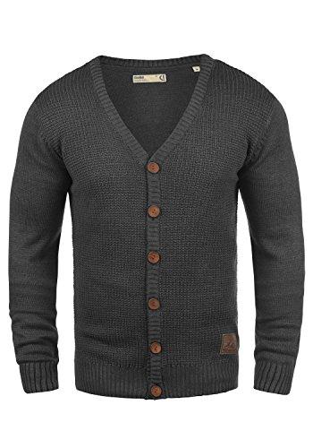 SOLID Tyrell Herren Strickjacke Cardigan Feinstrick mit V-Ausschnitt aus hochwertiger Baumwollmischung Meliert, Größe:M, Farbe:Dark Grey Melange (8288)