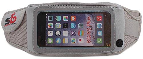 Sport Hüfttasche von Sports Drob - Running Belt zum Verstauen von 5 Zoll Handys (Iphone 6), Schlüssel & Geld - Ideal zum Joggen, Wandern & Reisen (Grau) (Handys Sprint)