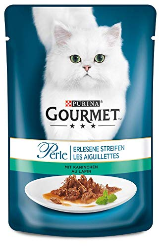 Purina GOURMET Perle: Katzennassfutter, hochwertiges Katzenfutter für ausgewachsene Katzen, 24er Pack (24 x 85 g Beutel) (Fleisch Kaninchen Frische)
