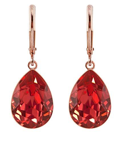 petra kupfer Damen Ohrringe Ohrhänger Tropfen Anhänger 1 Swarovski®-Kristall Rot Padparadscha Rose Gold Vergoldet rdh1-rg-padparadscha