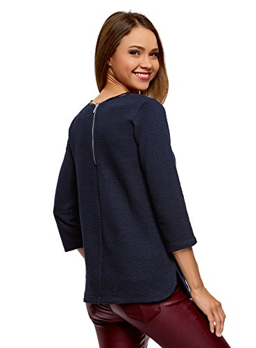 oodji Ultra Damen Pullover aus Strukturiertem Stoff mit Kunstlederbesatz Blau (7900N)