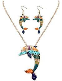 HFJ&YIE&H Mujeres estilo Europeo moda colorido lindo delfín pendiente collar conjunto