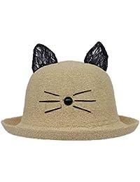 COMVIP Cartoon Katze Ohren Deko Damen M/ädchen Melone M/ütze Bowler Hat Cap Fedora Trilby Hut Strand Hut Sonnenhut Baumwoll-Leinen