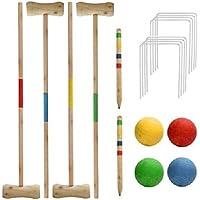 Juego de 4 pelotas de juego de jardín de madera de pino para 4 jugadores
