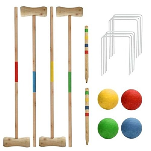 New 4 Player Croquet Set Garden Game Balls Pine Wood Complete Hoops 4 Mallet