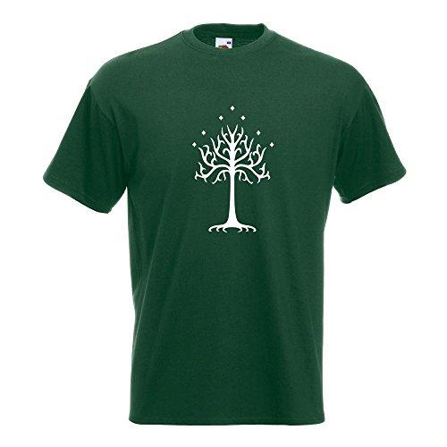 KIWISTAR - der Weiße Baum Gondors T-Shirt in 15 verschiedenen Farben - Herren Funshirt bedruckt Design Sprüche Spruch Motive Oberteil Baumwolle Print Größe S M L XL XXL Flaschengruen