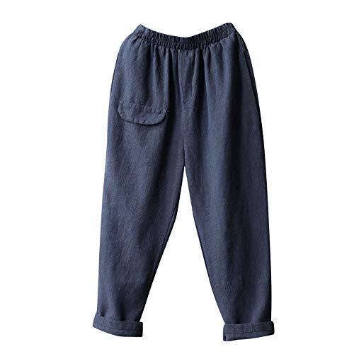 ZIYOU Damen Casual Hosen Baumwolle und Leinen, Female Regular fit Streetwear Pants Beiläufige Übergröße Breite Beinhosen mit Tasche(XL,Navy Blau)