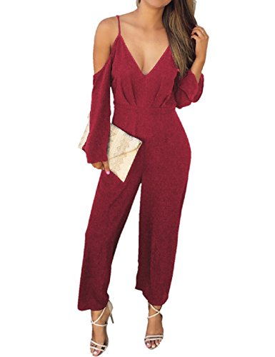 Lrud donne cold shouler gamba larga tute jumpsuit v neck a vita alta pagliaccetto playsuit