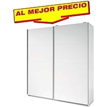 ARMARIO ROPERO DE DOS PUERTAS CORREDERAS COLECCIÓN MUNDOO, COLOR BLANCO, MEDIDAS 201,5 x 215,5 x 56 cm.CM - OFERTAS DE HOGAR ¡AL MEJOR PRECIO!