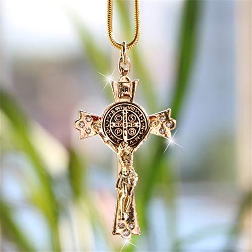 Auto Zink Legierung Jesus Kreuz christliche Religion Kruzifix Jesus Figur Ornament Anhänger für Auto Innenrückspiegel, Gold