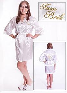 Alandra KIM - Kimono acolchado para novia, color blanco y marfil