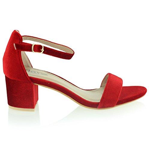 Femmes Dames Velours Orteil Ouvert Sangle de Cheville Talon Moyen Soir Casual Formel Fête Des sandales Chaussures Taille Rouge