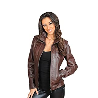 Classic Fitted Zip Up Biker Real Leather Jacket For Women Nicole Brown Casual Garment (12)