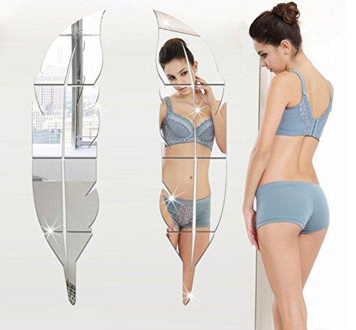 Pegatina de vinilo con espejo retrovisor de acrílico 3D para todo el cuerpo, impermeable, espejo decorativo, para baño, dormitorio, sala de estar, decoración, plata, pequeño