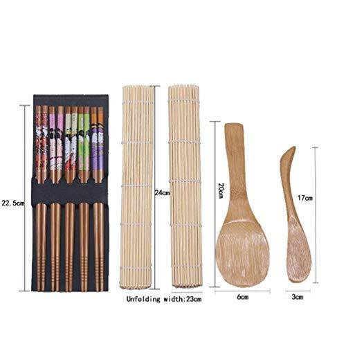 Ouken 5pcs / Conjunto del Sushi Fabricación de Herramientas Kit de Herramientas de Rollo de Cocina Japonesa Hecha a Mano de Bricolaje de bambú Sushi arrocera Accesorios de moldes de Cocina