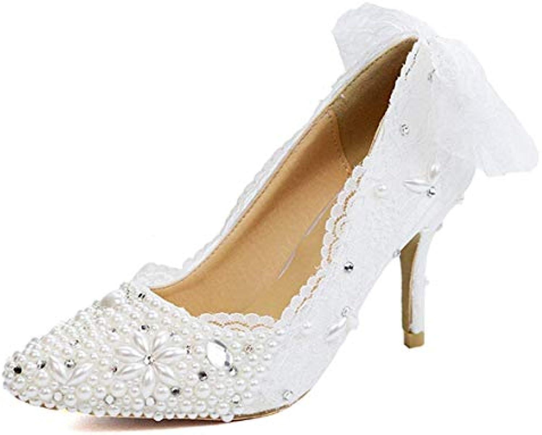 ZHRUI Dos Dentelle perlée Blanche Bowknot perlée Dentelle Blanche Occasion spéciale Pompes de Mariage mariée UK 5 (coloré : -,...B07JYCRQZBParent bea033
