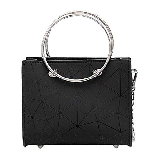 La donna elegante catena di geometria Crossbody Borsa in pelle PU Zipper  borsetta Casual anello di 596cbd7eb8c