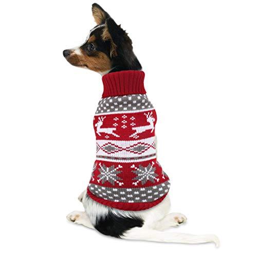 Idepet Maglioncino Cane Natale, Cappottino Cane con Renna di Natale Design per Halloween Natale Autunno Inverno Rosso S (XXXL, Rosso)