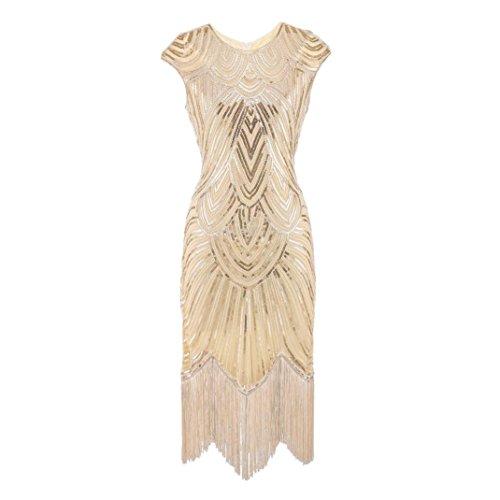(Oyedens Damen Vintage Kleid, 1920 Frauen Quaste Gewebt Pailletten Kleider Kleid Abendkleid Flapper Dress Gastby Kostüm Kleid 1920er Pailletten Perlen Quasten Falten Gatsby Flapper Kleid (M, Gold))