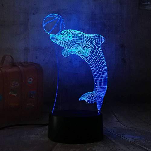 YDBDB Nachtlicht Netter neuer Delphin-Spiel-Ball 3D führte Acryl-Rgb-Usb-Noten-Steuerausgangsdecro-Kinderschreibtischlampe Kind-Weihnachtsgeschenk