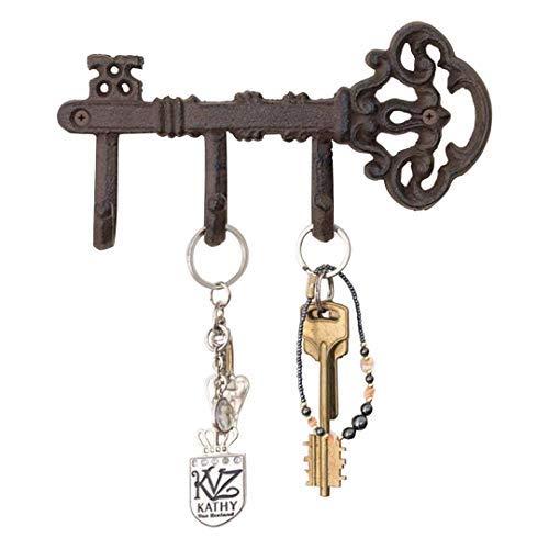 Dekorative Wand montiert Schlüsselhalter | Vintage-Schlüssel mit 3Haken | Wand montiert | Rustikal Gusseisen | by comfify 7.9 x 4.1