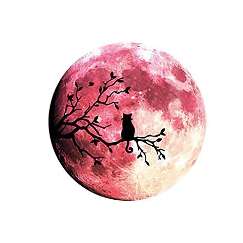 Masrin Halloween wandaufkleber leuchtenden mond im Dunkeln leuchten Mondlicht Kind Schlafzimmer dekor wandbild (Rot) (Mann Im Mond Kostüm)