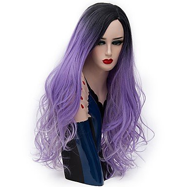 Perücke Capless Lange Natural Wave Lila Ombre Hair Natural Perücken Party Perücke Halloween Perücke Karneval Perücke Kostüm Perücken (Beste Halloween-party Nyc)