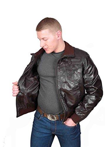Herren Gepaßte Bomber Lederjacke Designer weiche hochwertige Mantel George Braun - 5