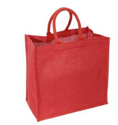 Einkaufstasche, Jute, Rot, ideal für Weihnachtsgeschenke