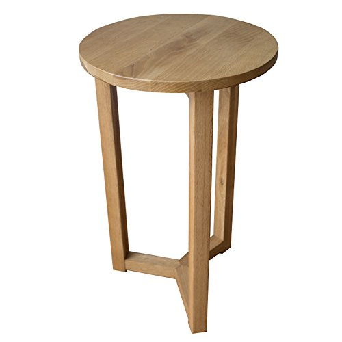 Yabbyou Solid Oak Tall Bedside Lamp Side Table Round Top 55cm High